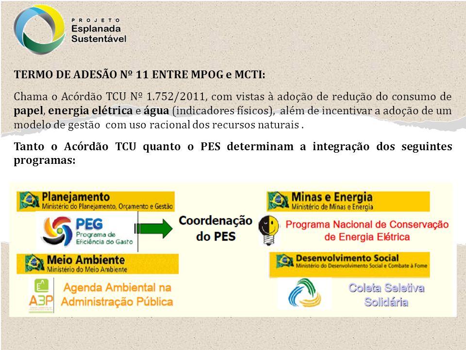 TERMO DE ADESÃO Nº 11 ENTRE MPOG e MCTI: Chama o Acórdão TCU Nº 1.752/2011, com vistas à adoção de redução do consumo de papel, energia elétrica e águ