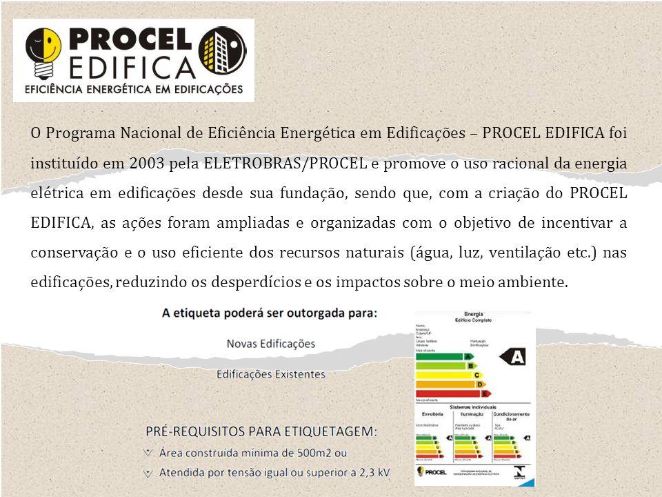 O Programa Nacional de Eficiência Energética em Edificações – PROCEL EDIFICA foi instituído em 2003 pela ELETROBRAS/PROCEL e promove o uso racional da