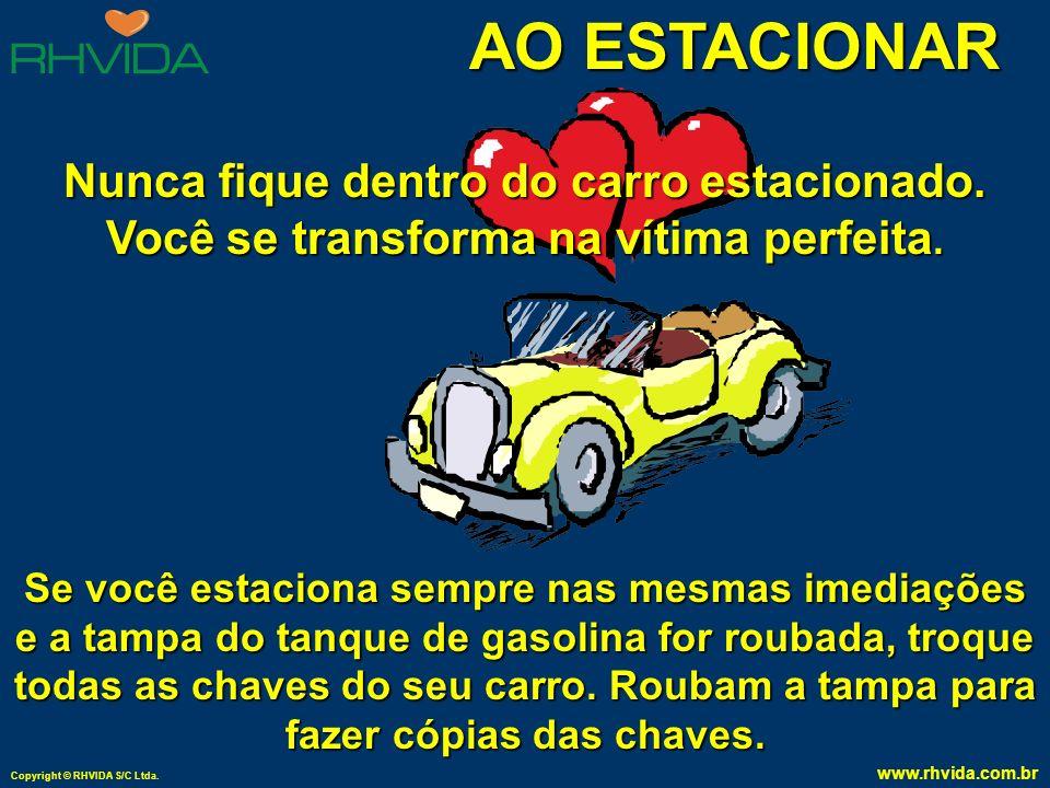 Copyright © RHVIDA S/C Ltda. www.rhvida.com.br AO ESTACIONAR Não deixe nenhum objeto dentro do carro; coloque tudo no porta-malas. Tire sempre a chave