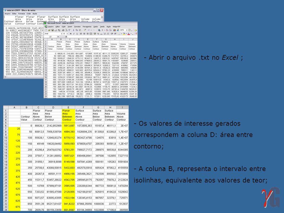 - Abrir o arquivo.txt no Excel ; - Os valores de interesse gerados correspondem a coluna D: área entre contorno; - A coluna B, representa o intervalo