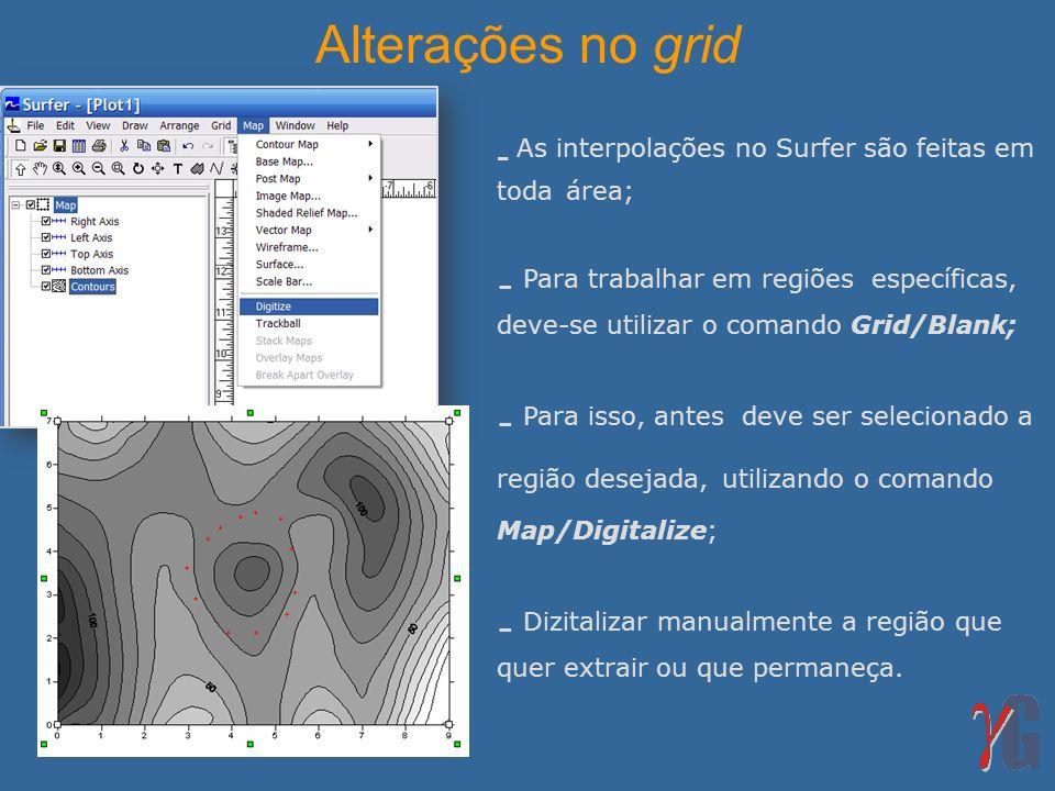 Alterações no grid - As interpolações no Surfer são feitas em toda área; - Para trabalhar em regiões específicas, deve-se utilizar o comando Grid/Blan