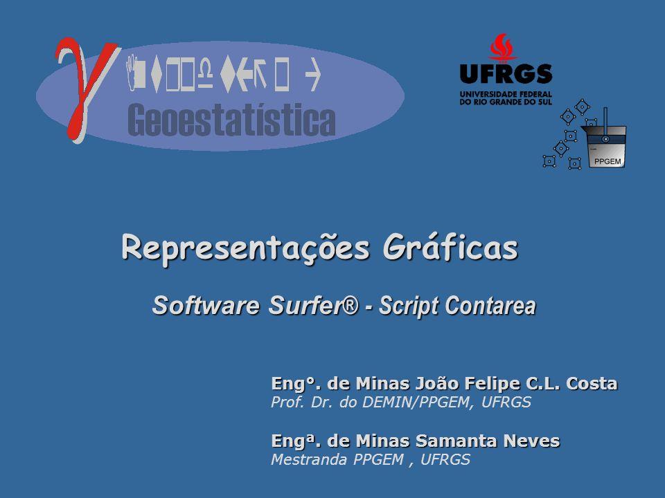 Representações Gráficas Software Surfer ® - Script Contarea Eng°. de Minas João Felipe C.L. Costa Prof. Dr. do DEMIN/PPGEM, UFRGS Engª. de Minas Saman