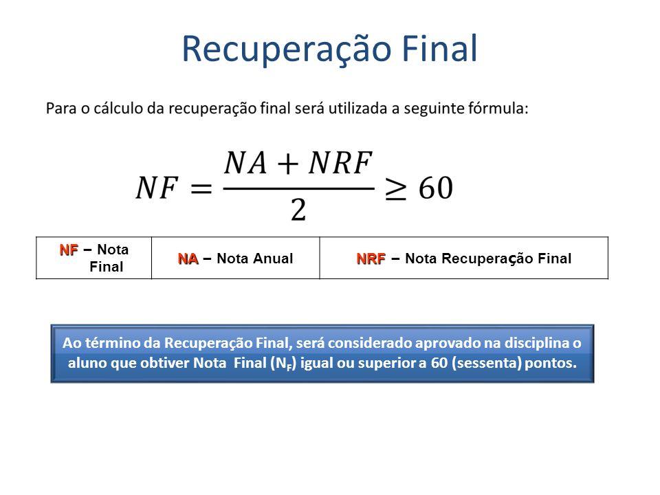 Recuperação Final NF – Nota Final NA – Nota Anual NRF – Nota Recupera ç ão Final Ao término da Recuperação Final, será considerado aprovado na discipl