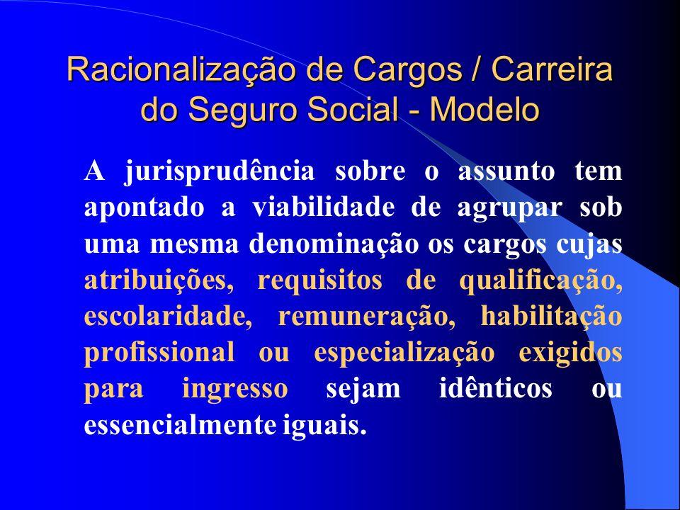 Racionalização de Cargos / Carreira do Seguro Social - Modelo A jurisprudência sobre o assunto tem apontado a viabilidade de agrupar sob uma mesma den
