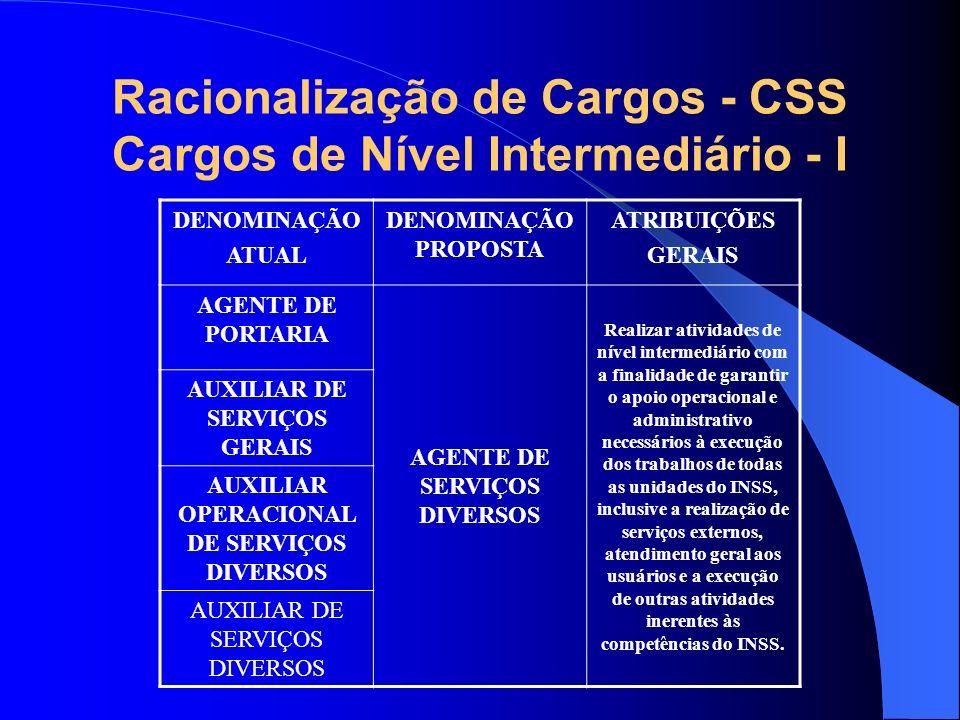 Racionalização de Cargos - CSS Cargos de Nível Intermediário - I DENOMINAÇÃO ATUAL DENOMINAÇÃO PROPOSTA ATRIBUIÇÕES GERAIS AGENTE DE PORTARIA AGENTE D