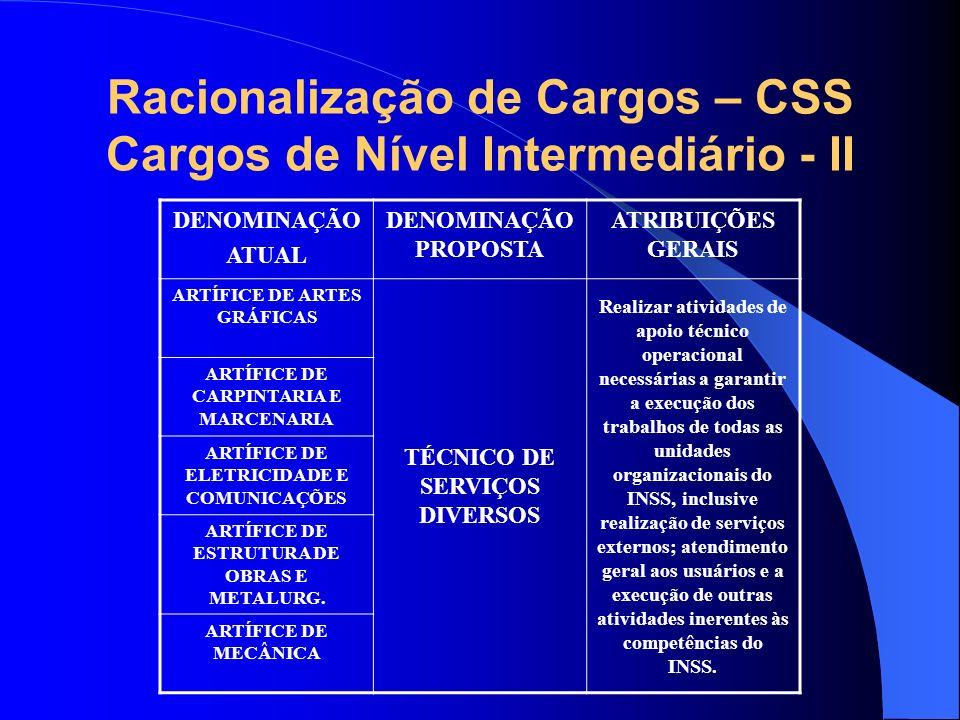 Racionalização de Cargos – CSS Cargos de Nível Intermediário - II DENOMINAÇÃO ATUAL DENOMINAÇÃO PROPOSTA ATRIBUIÇÕES GERAIS ARTÍFICE DE ARTES GRÁFICAS
