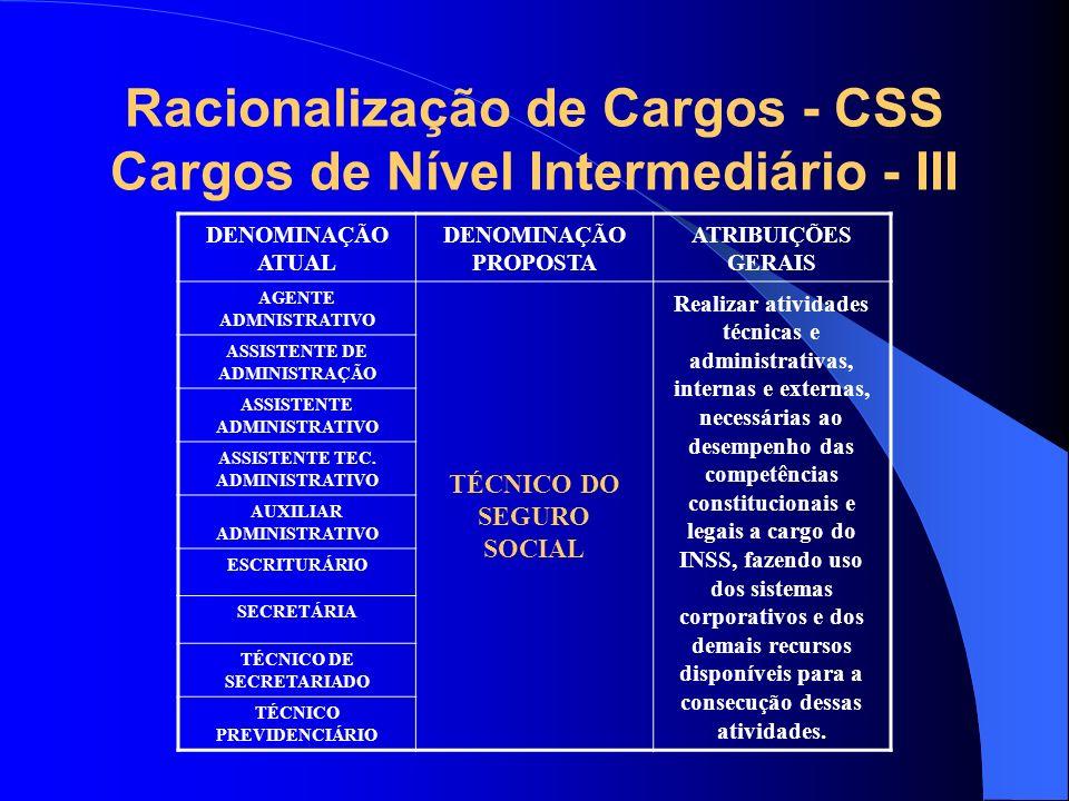 Racionalização de Cargos - CSS Cargos de Nível Intermediário - III DENOMINAÇÃO ATUAL DENOMINAÇÃO PROPOSTA ATRIBUIÇÕES GERAIS AGENTE ADMNISTRATIVO TÉCN