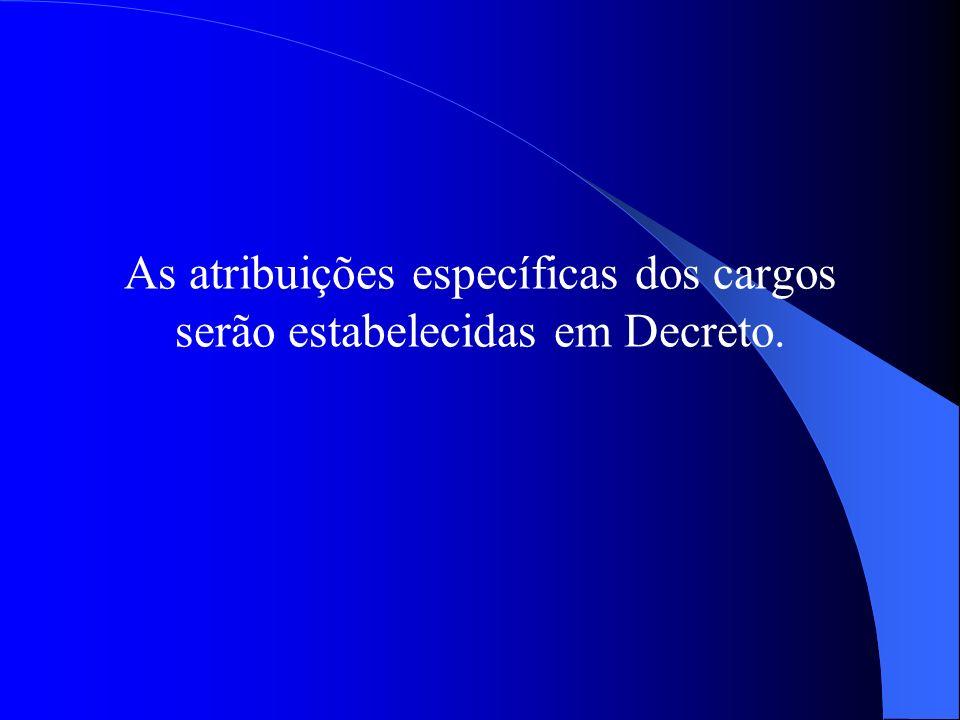 As atribuições específicas dos cargos serão estabelecidas em Decreto.