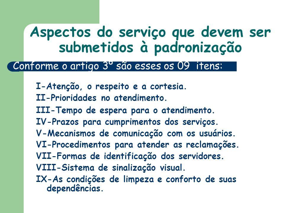 Aspectos do serviço que devem ser submetidos à padronização I-Atenção, o respeito e a cortesia.