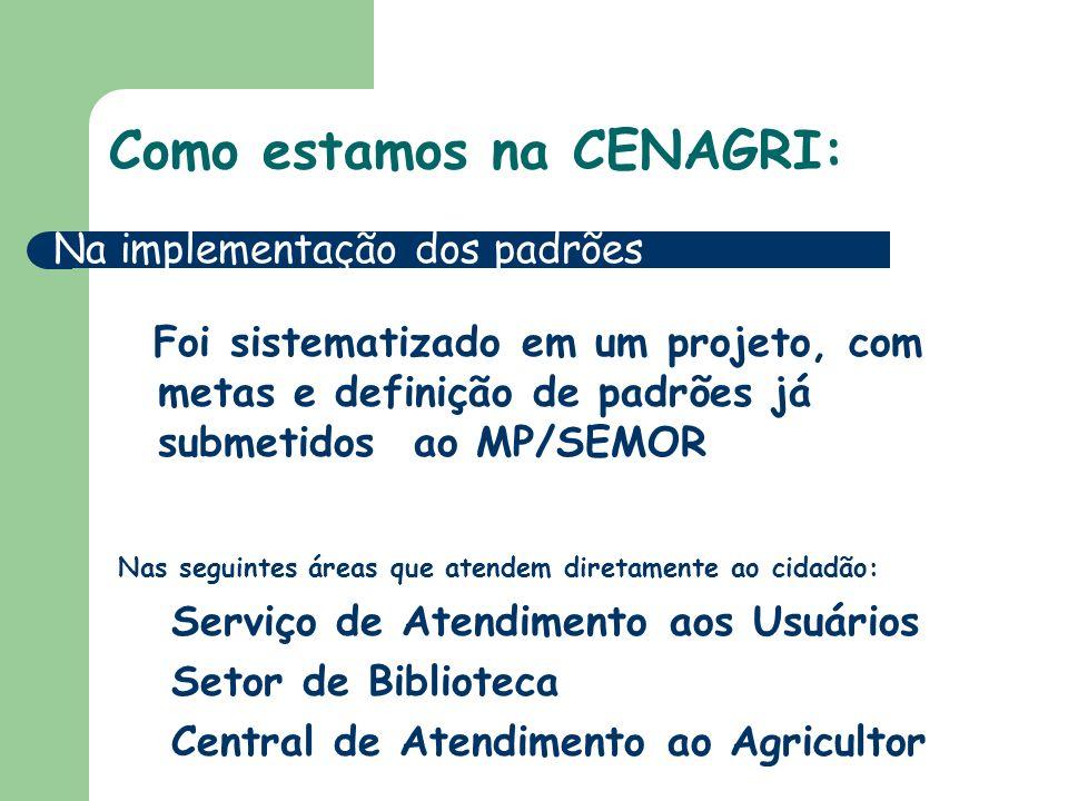 Como estamos na CENAGRI: Foi sistematizado em um projeto, com metas e definição de padrões já submetidos ao MP/SEMOR Nas seguintes áreas que atendem diretamente ao cidadão: Serviço de Atendimento aos Usuários Setor de Biblioteca Central de Atendimento ao Agricultor Na implementação dos padrões