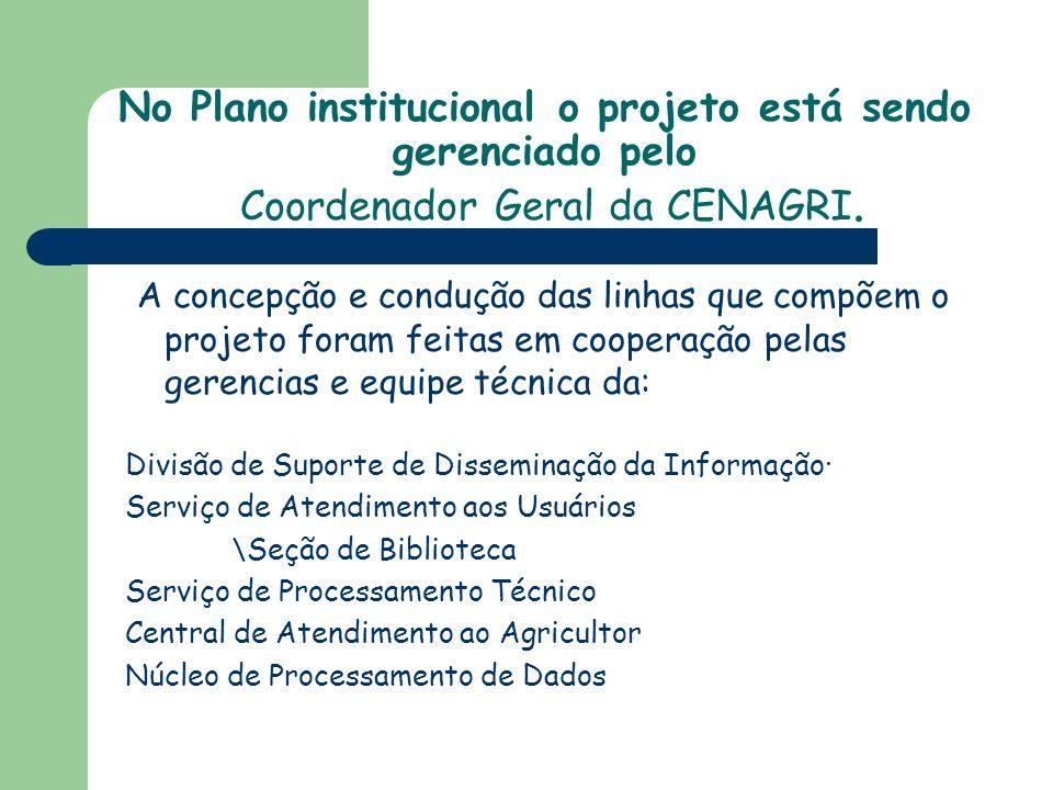 No Plano institucional o projeto está sendo gerenciado pelo Coordenador Geral da CENAGRI.