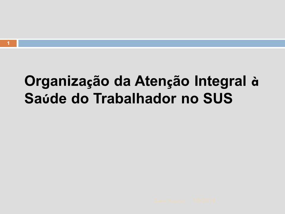 1/5/2014 2 Zuher Handar A POLITICA DE SAÚDE DO TRABALHADOR NA ATENÇÃO BÁSICA DE SAÚDE Centro Estadual de Saúde do Trabalhador A gestão da RENAST