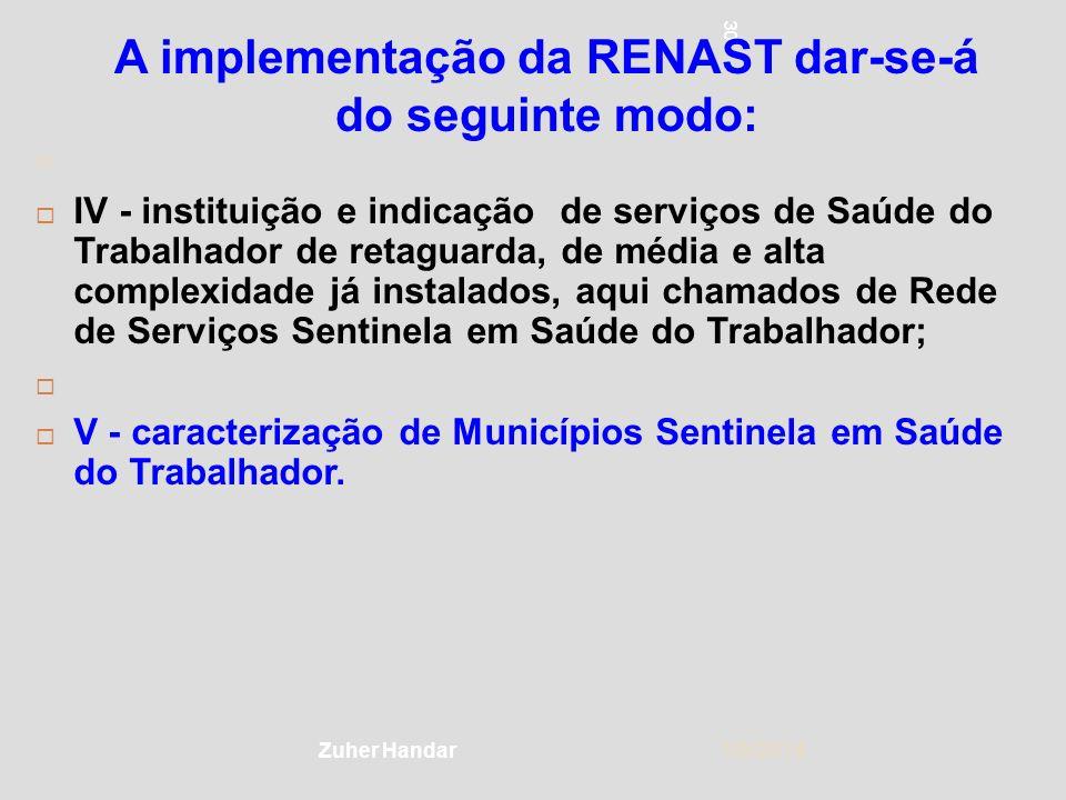 30 1/5/2014 30 Zuher Handar A implementação da RENAST dar-se-á do seguinte modo: IV - instituição e indicação de serviços de Saúde do Trabalhador de r