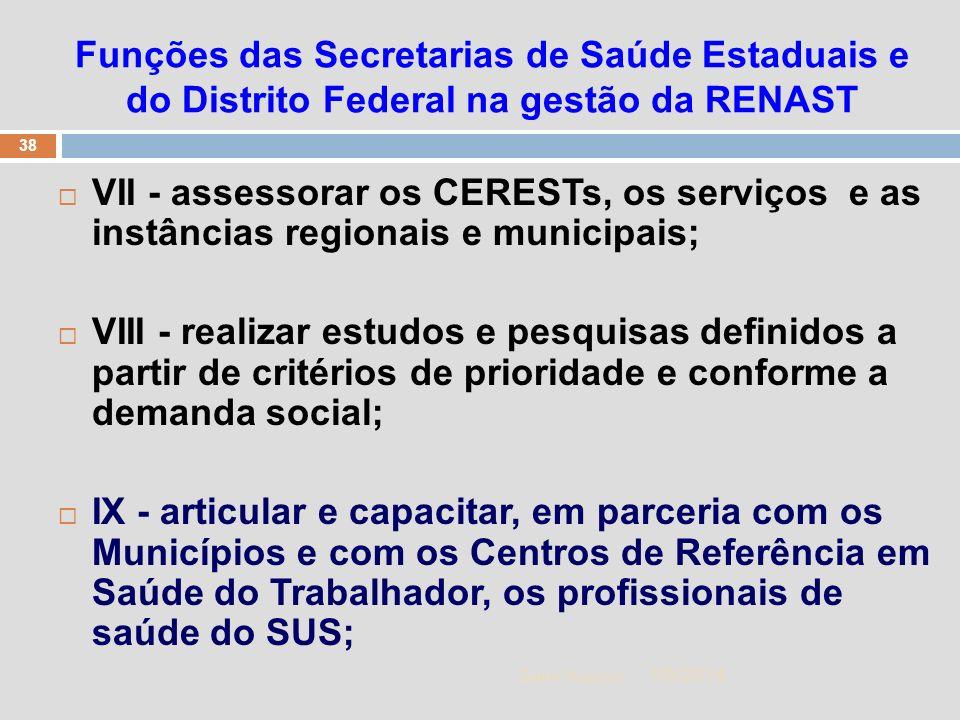 1/5/2014 38 Zuher Handar Funções das Secretarias de Saúde Estaduais e do Distrito Federal na gestão da RENAST VII - assessorar os CERESTs, os serviços