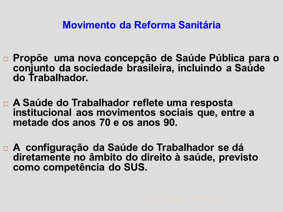 1/5/2014 Zuher Handar 4 Movimento da Reforma Sanitária Propõe uma nova concepção de Saúde Pública para o conjunto da sociedade brasileira, incluindo a