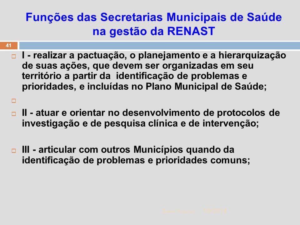 1/5/2014 41 Zuher Handar Funções das Secretarias Municipais de Saúde na gestão da RENAST I - realizar a pactuação, o planejamento e a hierarquização d