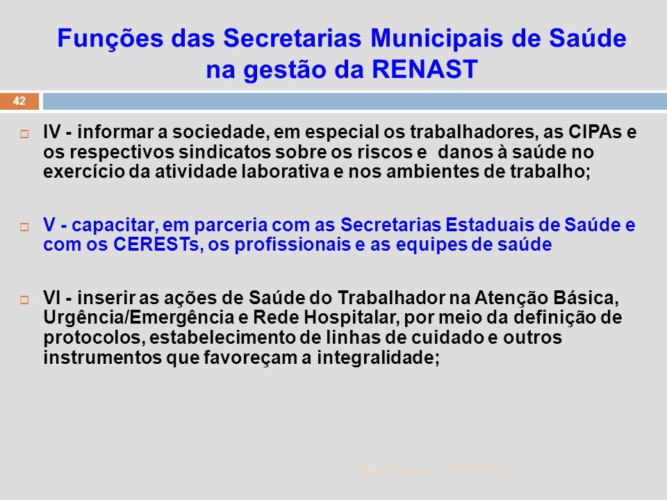 1/5/2014 42 Zuher Handar Funções das Secretarias Municipais de Saúde na gestão da RENAST IV - informar a sociedade, em especial os trabalhadores, as C
