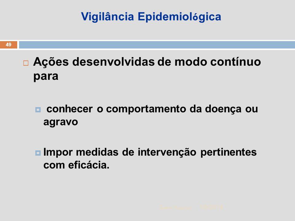 1/5/2014 49 Zuher Handar Vigilância Epidemiol ó gica Ações desenvolvidas de modo contínuo para conhecer o comportamento da doença ou agravo Impor medi
