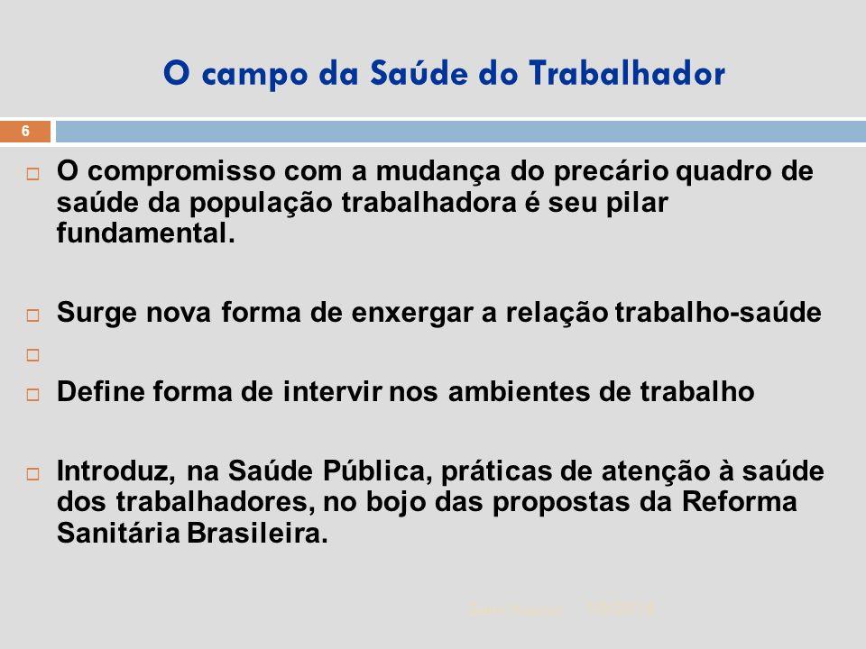 1/5/2014 6 Zuher Handar O campo da Saúde do Trabalhador O compromisso com a mudança do precário quadro de saúde da população trabalhadora é seu pilar