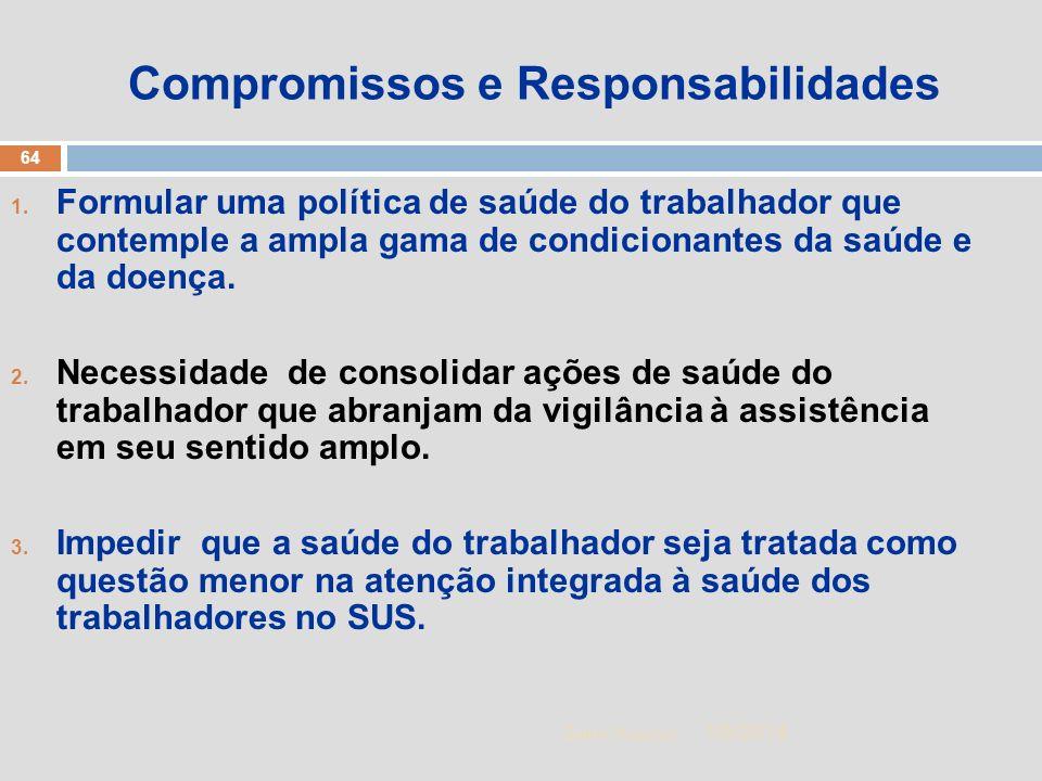 1/5/2014 64 Zuher Handar Compromissos e Responsabilidades 1. Formular uma política de saúde do trabalhador que contemple a ampla gama de condicionante