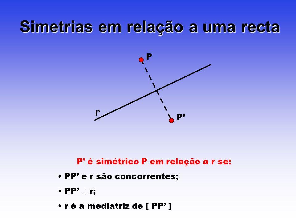 Simetrias em relação a uma recta r P P P é simétrico P em relação a r se: PP e r são concorrentes; PP r; r é a mediatriz de [ PP ]