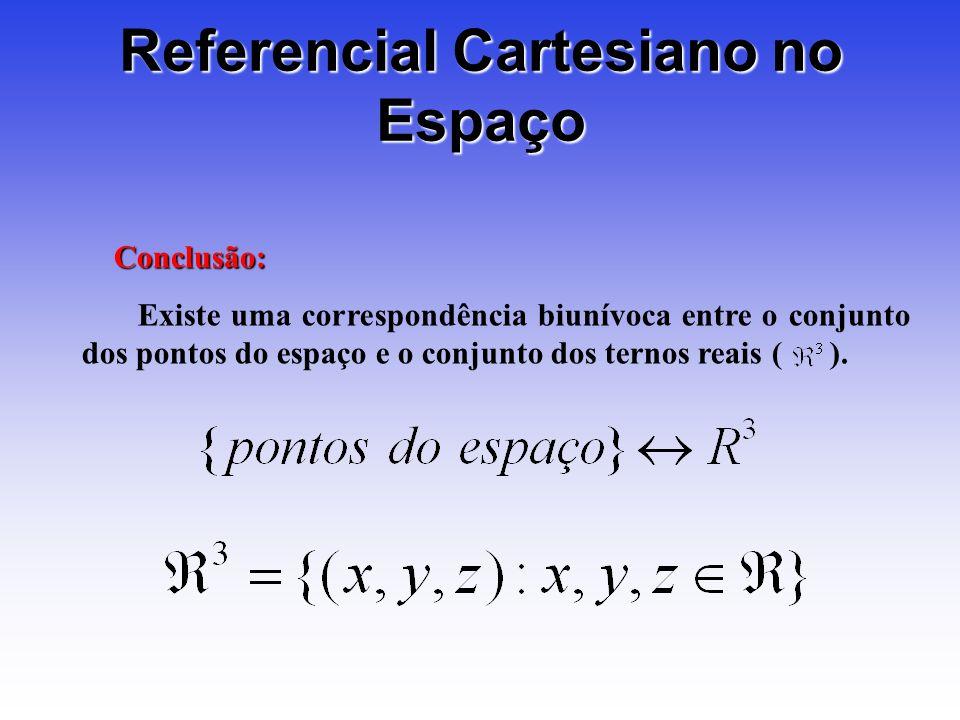 Referencial Cartesiano no Espaço Conclusão: Existe uma correspondência biunívoca entre o conjunto dos pontos do espaço e o conjunto dos ternos reais ( ).