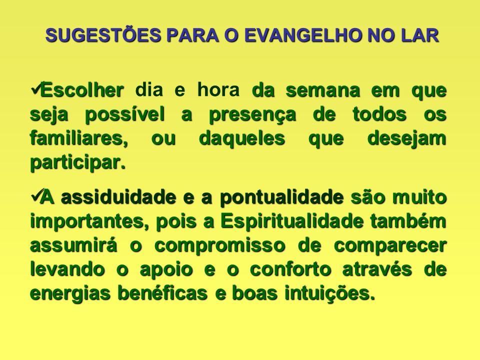 OBJETIVOS DO EVANGELHO NO LAR Estudar o Evangelho à Luz da Doutrina Espírita.