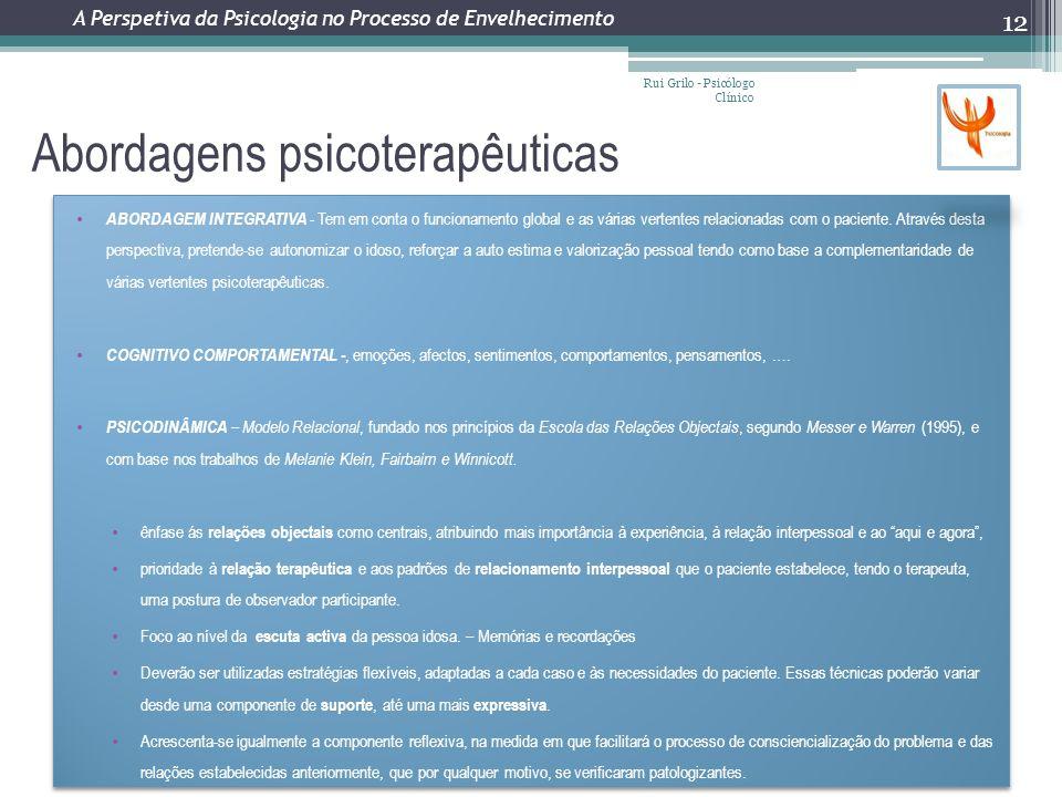 Abordagens psicoterapêuticas Rui Grilo - Psicólogo Clínico 12 ABORDAGEM INTEGRATIVA - Tem em conta o funcionamento global e as várias vertentes relacionadas com o paciente.
