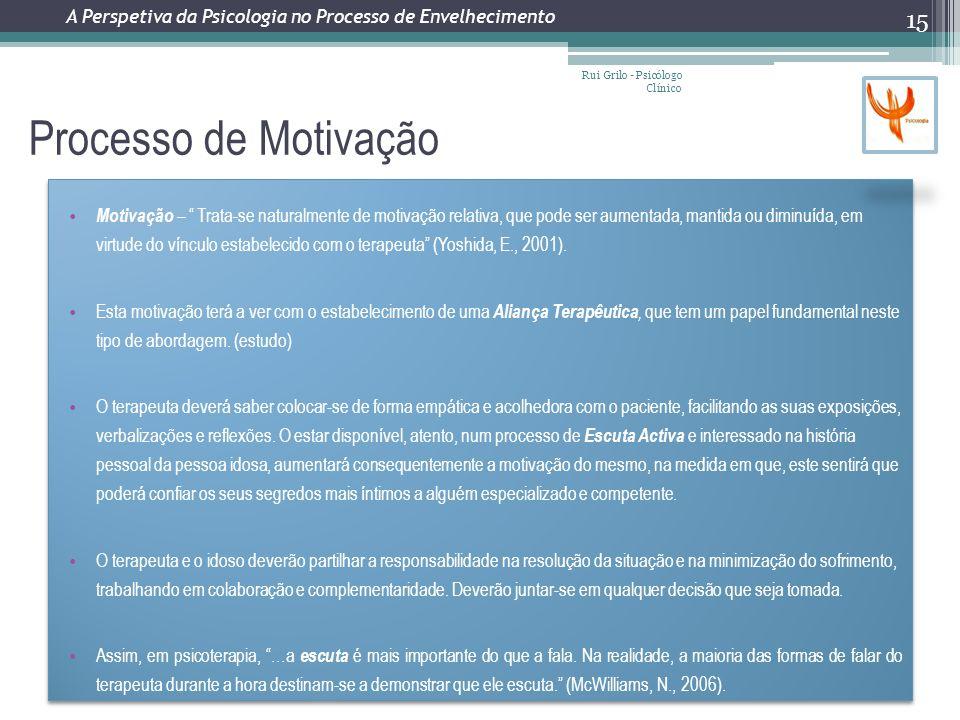 Processo de Motivação Rui Grilo - Psicólogo Clínico 15 Motivação – Trata-se naturalmente de motivação relativa, que pode ser aumentada, mantida ou diminuída, em virtude do vínculo estabelecido com o terapeuta (Yoshida, E., 2001).