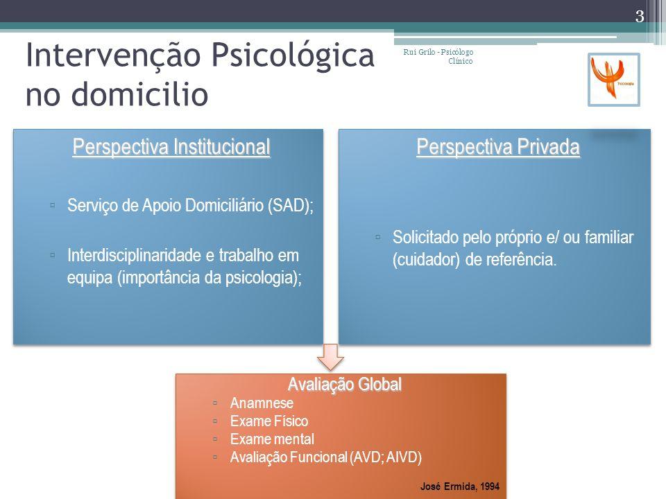 Intervenção Psicológica no domicilio Perspectiva Institucional Serviço de Apoio Domiciliário (SAD); Interdisciplinaridade e trabalho em equipa (import