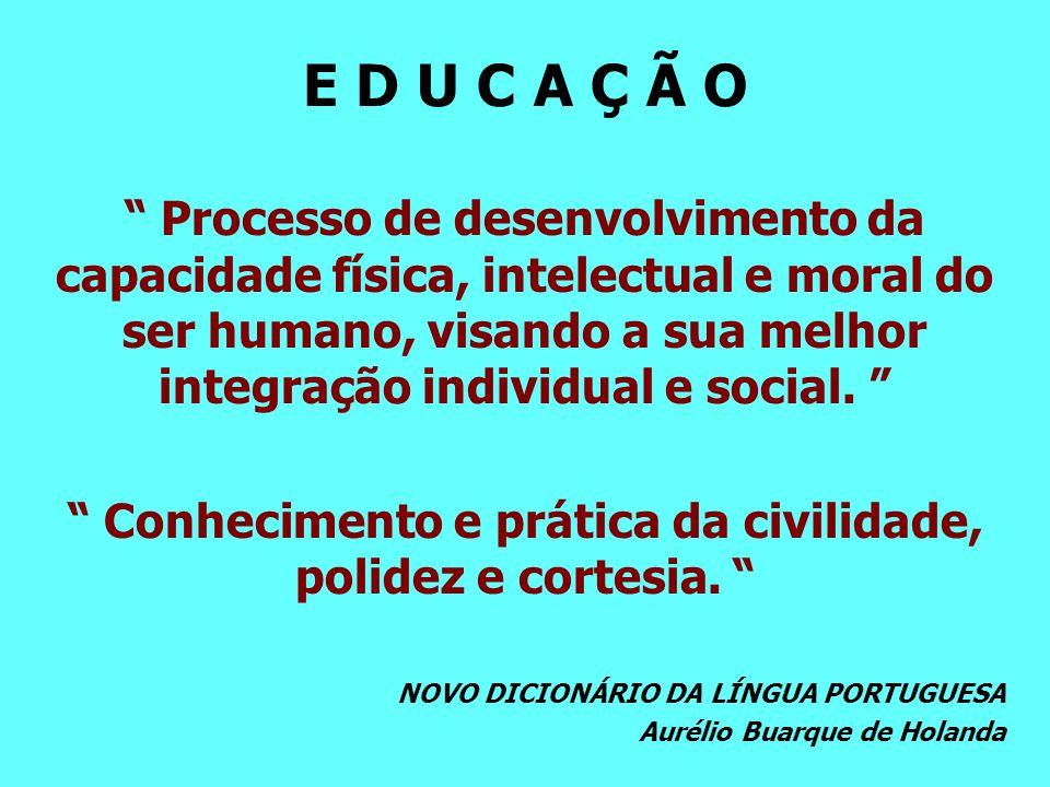 E D U C A Ç Ã O Processo de desenvolvimento da capacidade física, intelectual e moral do ser humano, visando a sua melhor integração individual e social.