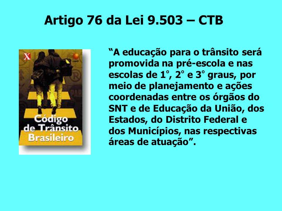 Artigo 76 da Lei 9.503 – CTB A educação para o trânsito será promovida na pré-escola e nas escolas de 1 º, 2 º e 3 º graus, por meio de planejamento e ações coordenadas entre os órgãos do SNT e de Educação da União, dos Estados, do Distrito Federal e dos Municípios, nas respectivas áreas de atuação.