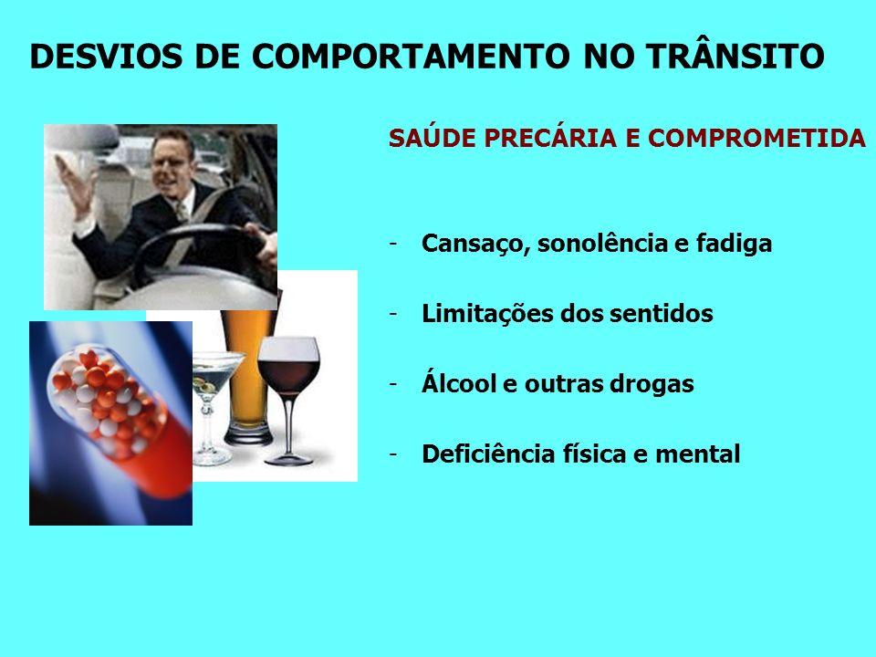 DESVIOS DE COMPORTAMENTO NO TRÂNSITO SAÚDE PRECÁRIA E COMPROMETIDA -Cansaço, sonolência e fadiga -Limitações dos sentidos -Álcool e outras drogas -Deficiência física e mental