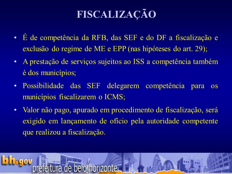 É de competência da RFB, das SEF e do DF a fiscalização e exclusão do regime de ME e EPP (nas hipóteses do art.