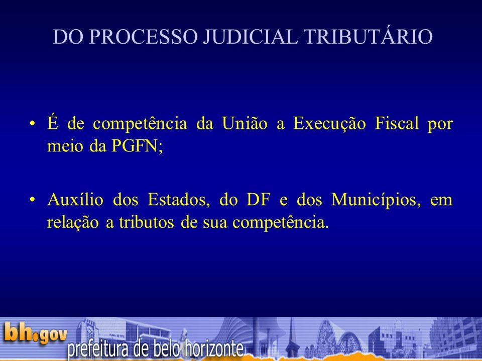 DO PROCESSO JUDICIAL TRIBUTÁRIO É de competência da União a Execução Fiscal por meio da PGFN; Auxílio dos Estados, do DF e dos Municípios, em relação a tributos de sua competência.