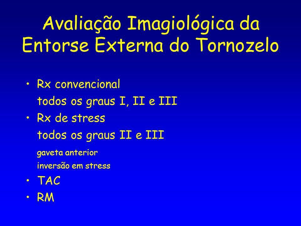 Avaliação Imagiológica da Entorse Externa do Tornozelo Rx convencional todos os graus I, II e III Rx de stress todos os graus II e III gaveta anterior inversão em stress TAC RM