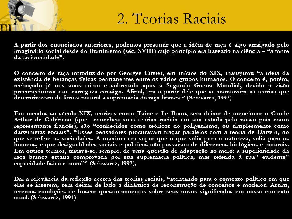 2. Teorias Raciais A partir dos enunciados anteriores, podemos presumir que a idéia de raça é algo arraigado pelo imaginário social desde do Iluminism