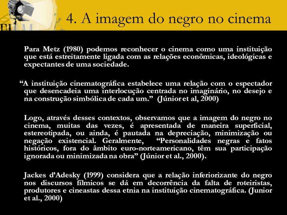4. A imagem do negro no cinema Para Metz (1980) podemos reconhecer o cinema como uma instituição que está estreitamente ligada com as relações econômi