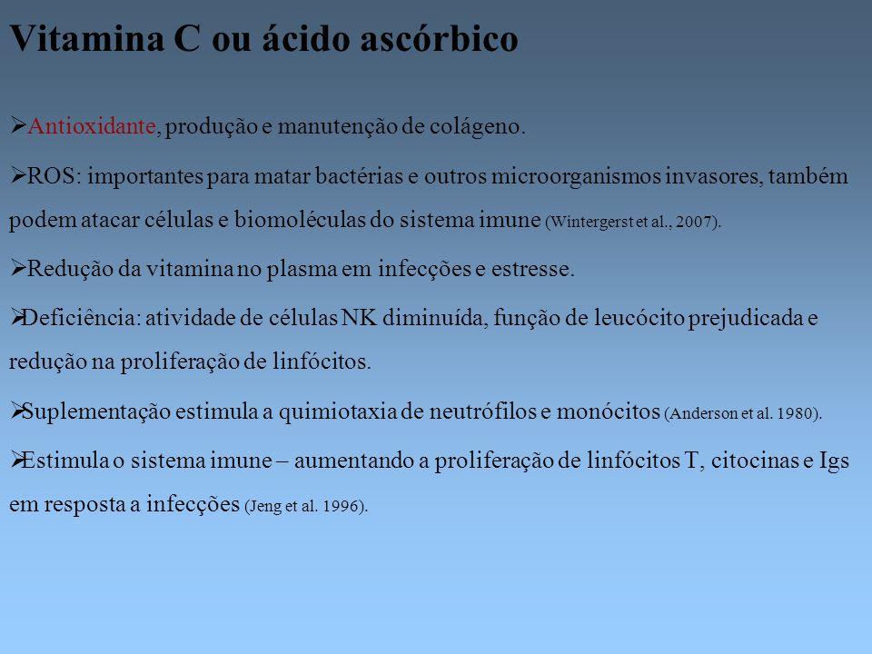 Vitamina C ou ácido ascórbico Antioxidante, produção e manutenção de colágeno. ROS: importantes para matar bactérias e outros microorganismos invasore