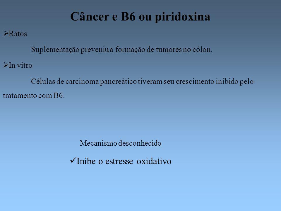 Câncer e B6 ou piridoxina Ratos Suplementação preveniu a formação de tumores no cólon. In vitro Células de carcinoma pancreático tiveram seu crescimen