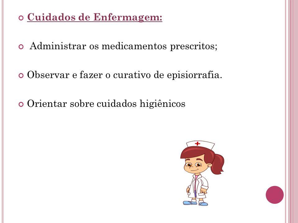 Cuidados de Enfermagem: Administrar os medicamentos prescritos; Observar e fazer o curativo de episiorrafia. Orientar sobre cuidados higiênicos