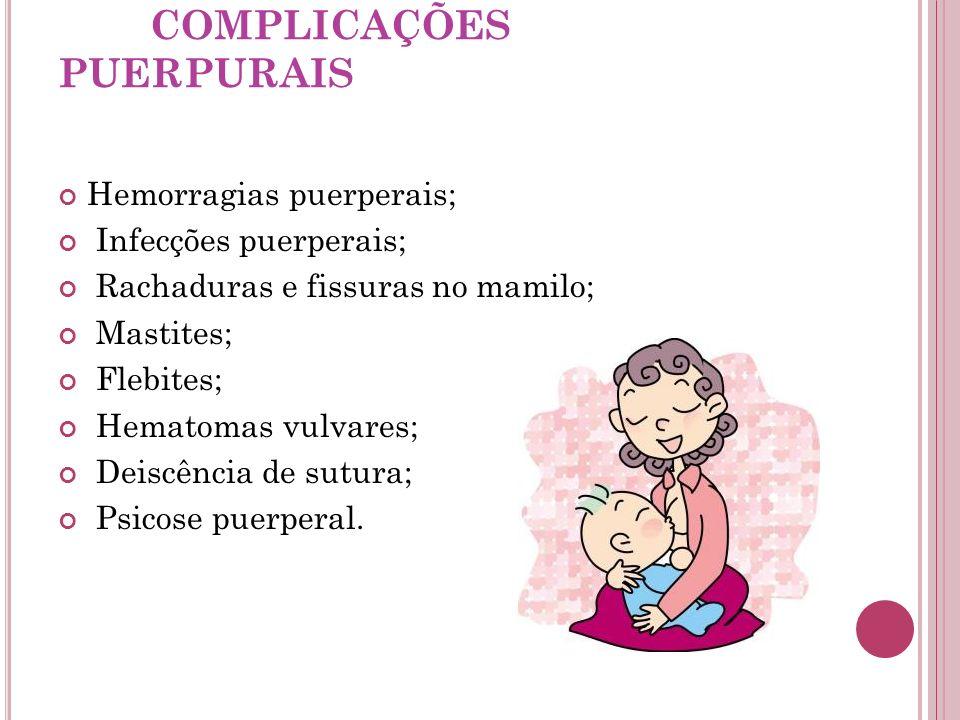 COMPLICAÇÕES PUERPURAIS Hemorragias puerperais; Infecções puerperais; Rachaduras e fissuras no mamilo; Mastites; Flebites; Hematomas vulvares; Deiscên