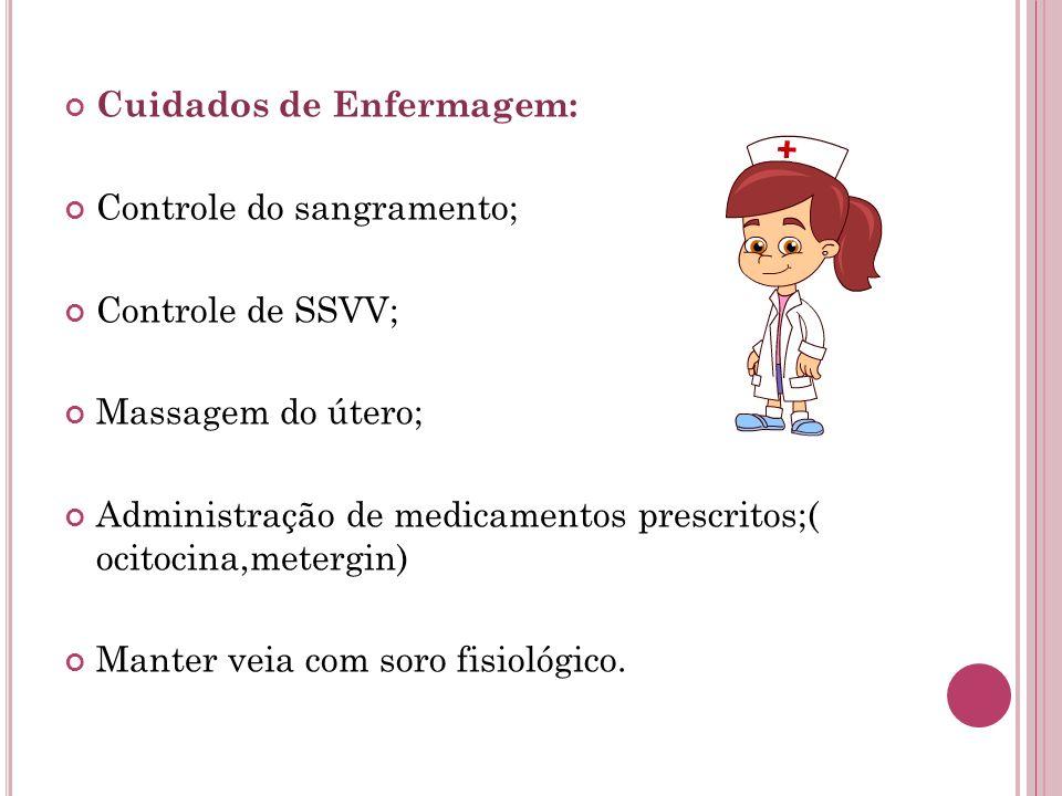 Cuidados de Enfermagem: Controle do sangramento; Controle de SSVV; Massagem do útero; Administração de medicamentos prescritos;( ocitocina,metergin) M