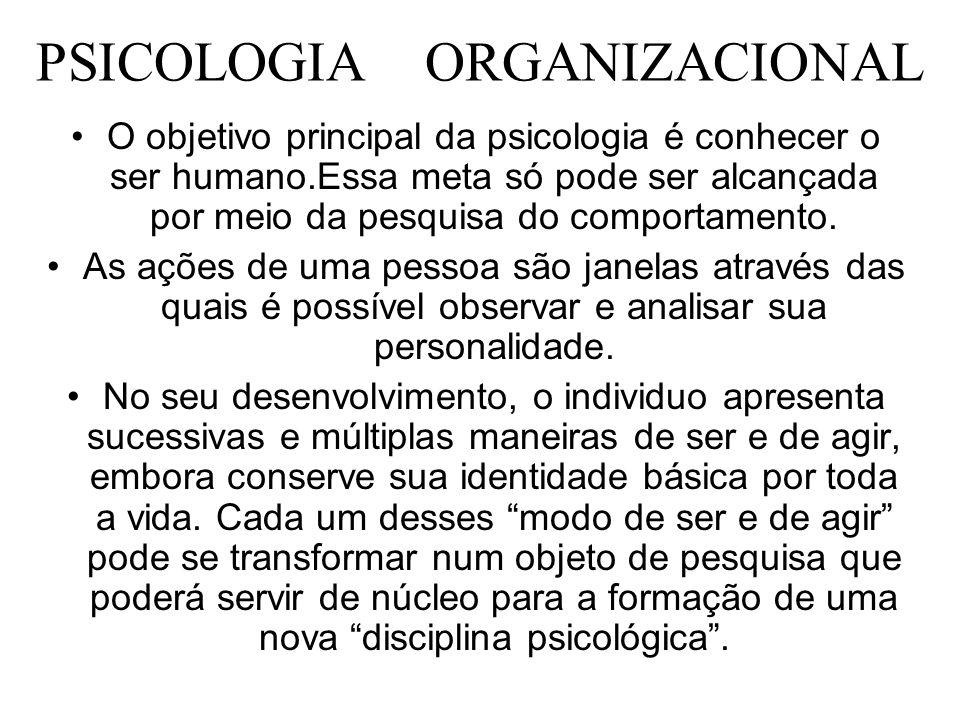 PSICOLOGIA ORGANIZACIONAL O objetivo principal da psicologia é conhecer o ser humano.Essa meta só pode ser alcançada por meio da pesquisa do comportam