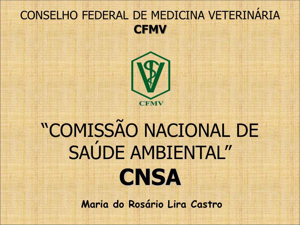 COMISSÃO NACIONAL DE SAÚDE AMBIENTALCNSA CONSELHO FEDERAL DE MEDICINA VETERINÁRIACFMV Maria do Rosário Lira Castro