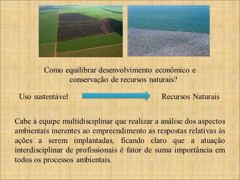 Como equilibrar desenvolvimento econômico e conservação de recursos naturais? Uso sustentável Recursos Naturais Cabe à equipe multidisciplinar que rea