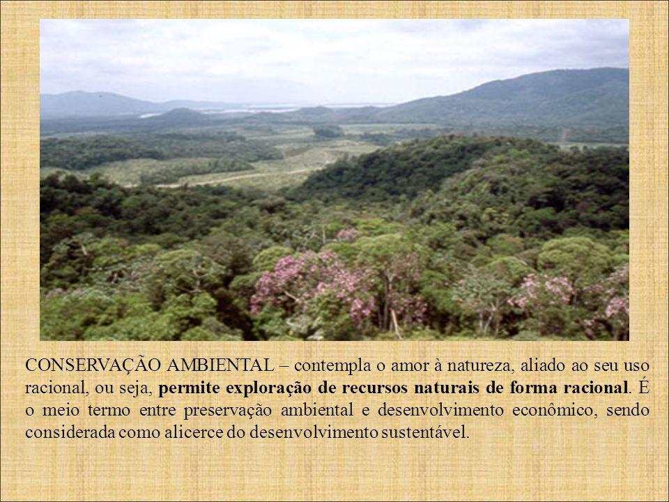 CONSERVAÇÃO AMBIENTAL – contempla o amor à natureza, aliado ao seu uso racional, ou seja, permite exploração de recursos naturais de forma racional. É