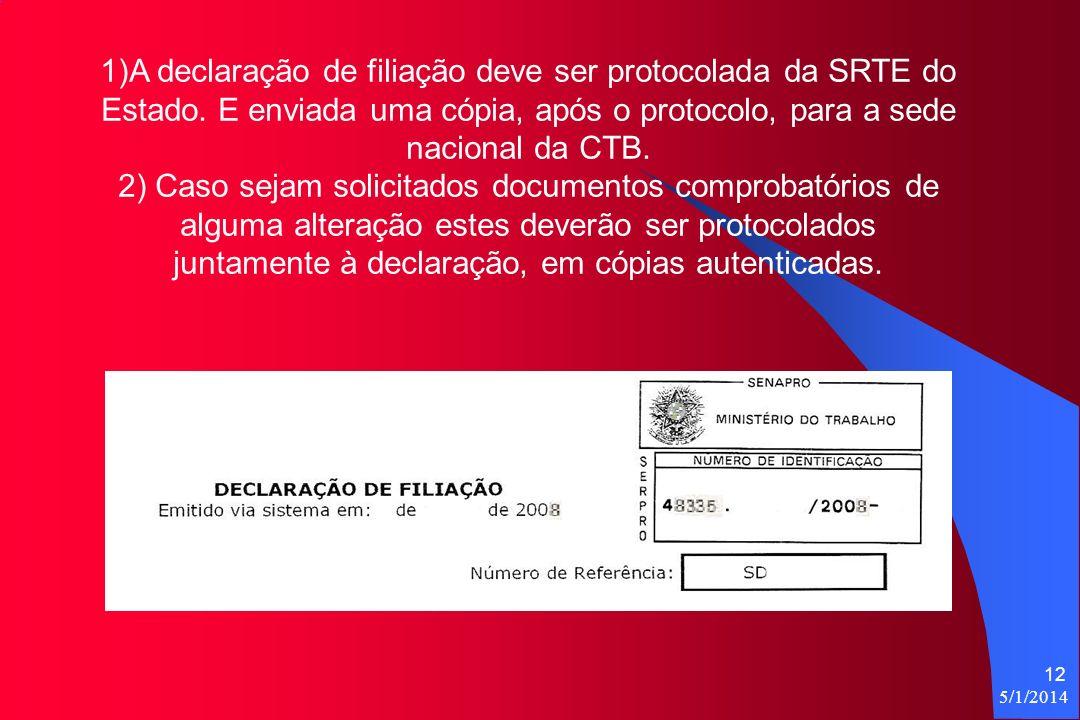 5/1/2014 12 1)A declaração de filiação deve ser protocolada da SRTE do Estado.