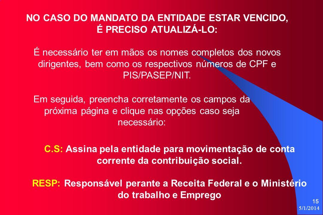 5/1/2014 15 NO CASO DO MANDATO DA ENTIDADE ESTAR VENCIDO, É PRECISO ATUALIZÁ-LO: É necessário ter em mãos os nomes completos dos novos dirigentes, bem como os respectivos números de CPF e PIS/PASEP/NIT.