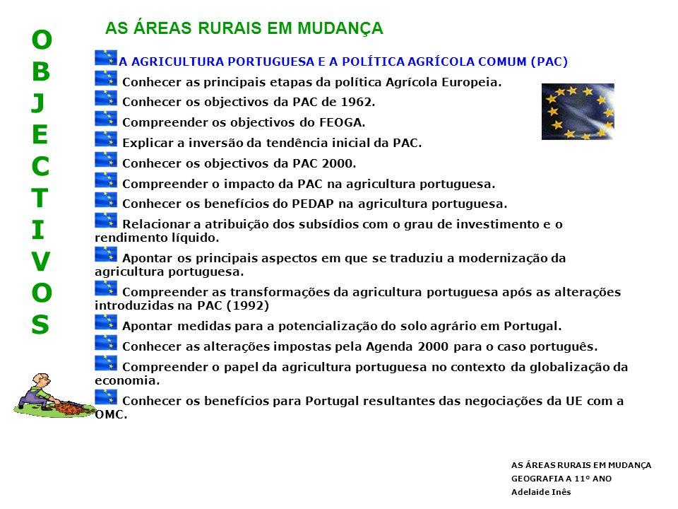 OBJECTIVOSOBJECTIVOS AS ÁREAS RURAIS EM MUDANÇA GEOGRAFIA A 11º ANO Adelaide Inês AS ÁREAS RURAIS EM MUDANÇA A AGRICULTURA PORTUGUESA E A POLÍTICA AGRÍCOLA COMUM (PAC) Conhecer as principais etapas da política Agrícola Europeia.